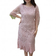 Rochie eleganta Eleanor din dantela,nuanta de pudra