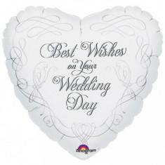 Balon nunta inima din folie 43cm Best Wishes On Your Wedding Day