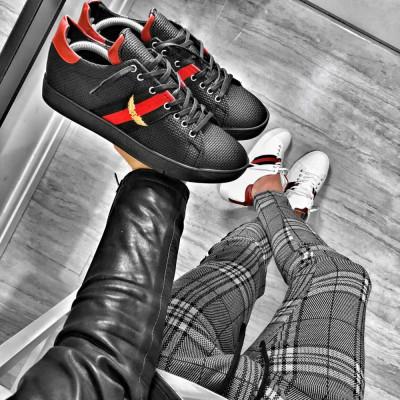 Pantofi pentru barbati, negri, cu siret, casual, material sintetic - BB317 foto