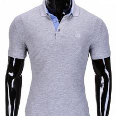 Tricou pentru barbati polo gri deschis slim fit casual S837