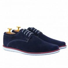 Pantofi barbati sport din piele naturala bleumarin 338BLM