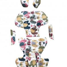 Set perne din bumbac pentru scaun auto copii si bebelusi Deluxe elefanti maro