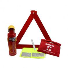 Kit siguranta auto: stingator, triunghi, vesta, trusa medicala