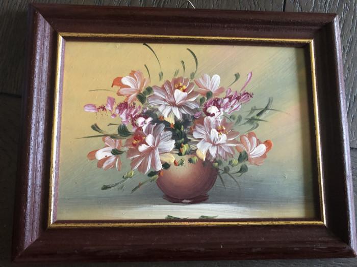 Tablou,pictura miniaturala germana in ulei ,vaza cu flori