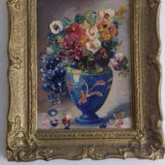 Veche pictura ulei tehnica cutit  vas cu flori astept oferte, Realism