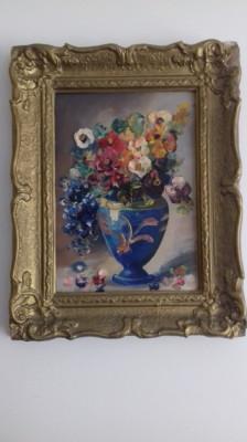 veche pictura ulei tehnica cutit  vas cu flori astept oferte foto