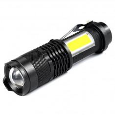 Lanterna dubla cu leduri, Xpe-R3 T6 + COB, culoare alb, 5W, rezistenta la apa