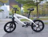 Bicicleta electrica Lehe S1, Viteza maxima 30 Km/h, Baterie LG, Far LED, Roti 20inch (Alb)