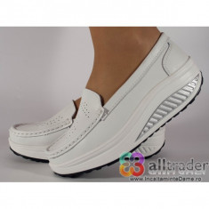 Pantofi albi talpa convexa piele naturala dama/dame/femei (cod AC020-33)