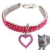 Zgarda pisici, zgarzi caini mici, bijuterie colier pentru animale de companie si jucarii plus, colier cu strasuri roz si pandantiv inima