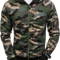Bluză pentru bărbat cu glugă și fermoar camuflaj-verde Bolf W1379