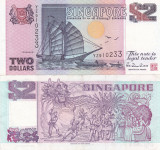 Singapore 2 Dollars 1992 UNC