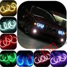 Angel Eyes BMW Seria 3, E90, faruri fara lupa, 16 culori, functie flash si telecomanda.