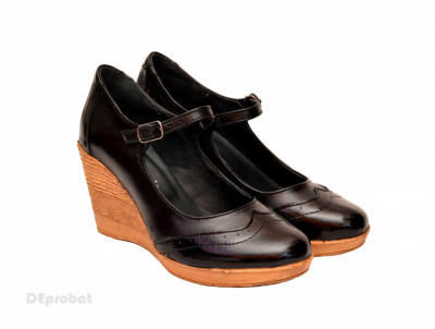 Pantofi dama piele naturala negri cu platforma cod P171N foto