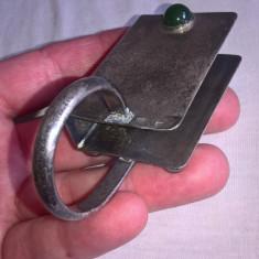 Suport cutie chibrit din metal argintat