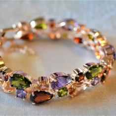 Bratara filled 14k rose gold  pietre naturale rubin ,smarald, peridot, ametist