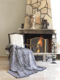 Cuvertura canapea din bumbac, Linen Alb / Negru, 170 x 220 cm