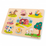 Puzzle lemn Ferma 9 piese NEW, New Classic Toys