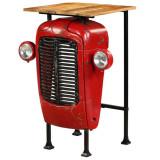 Masă bar, stil tractor, lemn masiv mango, roșu, 60x60x107 cm