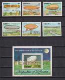LIBERIA ZEPPELIN 1978MI: 1054-1059+BL. 89 STAMPILATE, Nestampilat