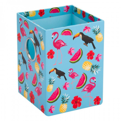 Suport din carton pentru pixuri si creioane, model flamingo, 8x8x10,5 cm, mov foto