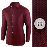 Camasa pentru barbati, rosu-inchis, regular fit, elastica, casual, cu guler - victory, 3XL, L, M, S, XL, XXL, Maneca lunga