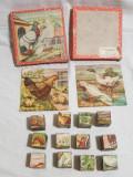 Jucarie de colectie Joc Romanesc vechi - cuburi ilustrate Pasari - anii 1960