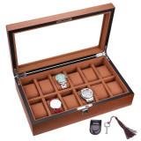 Cumpara ieftin Cutie caseta din lemn pentru depozitare si organizare 12 ceasuri, model Pufo...