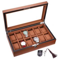 Cutie caseta din lemn pentru depozitare si organizare 12 ceasuri, model Pufo...