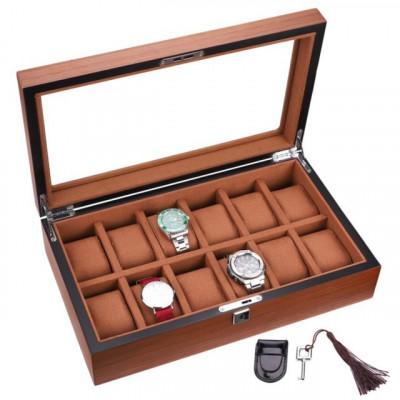 Cutie caseta din lemn pentru depozitare si organizare 12 ceasuri, model Pufo... foto