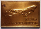 5.218 PLACHETA AVIATIE TAROM ZBOR INAUGURAL AIRBUS 310 (1992) 61/41mm