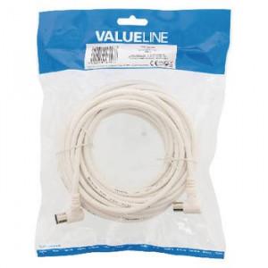 Cablu antena coaxial, coaxial tata cotit - coaxial mama cotit 10 m alb Valueline