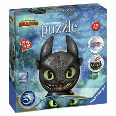 Puzzle 3D Dragons III Toothless, 72 piese, Ravensburger
