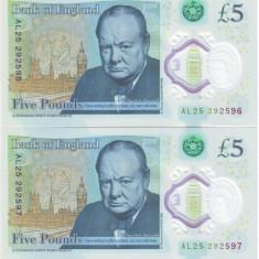 Anglia bancnota polimer 5 pounds 2015 serii consecutive - UNC - scan original
