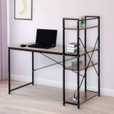 Masa de birou cu rafturi, Negru + Nuc