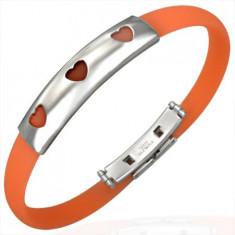 Brățară de cauciuc în culoare portocalie - placă de oțel cu trei inimioare decupate