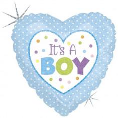 Balon Folie 45 cm inima It's A Boy, Holografic, Radar 86898H