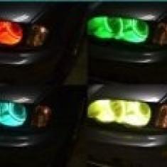 Angel Eyes RGB LED 16 culori cu telecomanda Bmw Seria 3 E46 Break far cu lupa cu xenon 1998-2006
