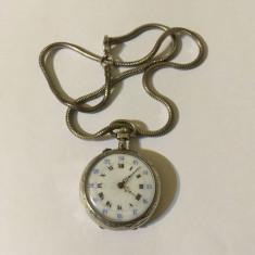 Ceas de buzunar de argint, cu lănțișor Model superb! Inserții aur! Austria, 1880