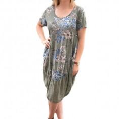 Rochie scurta cu croi asimetric, kaki cu model de flori colorate