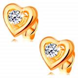Cumpara ieftin Cercei din aur 585 - contur de inimă simetrică, zirconiu transparent ridicat în mijloc