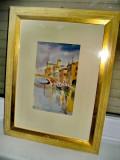 A304-I- Pictor consacrat Luciano Conteduca-tablou acuarela Chioggia.