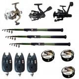 Cumpara ieftin Set pescuit sportiv cu 3 lansete de 3.6 m Cool Angel, 3 mulinete, 3 senzori si 3 gute