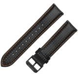 Curea din piele compatibila cu Bradley Timepiece, Telescoape QR, 20mm, Negru/Portocaliu
