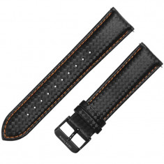 Curea piele compatibila Samsung Galaxy Watch 46mm, Telescoape QR, 22mm, Negru/Portocaliu