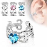Piercing fals pentru ureche cu suprafaţa placată cu rodiu, ornamente, zirconiu - Culoare zirconiu piercing: Roz - P