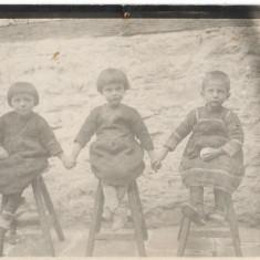 Fotografie veche copii pe scaune