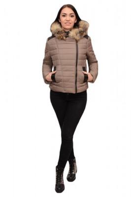 Jacheta tinereasca kaki, model scurt cu fermoarul intr-o parte foto