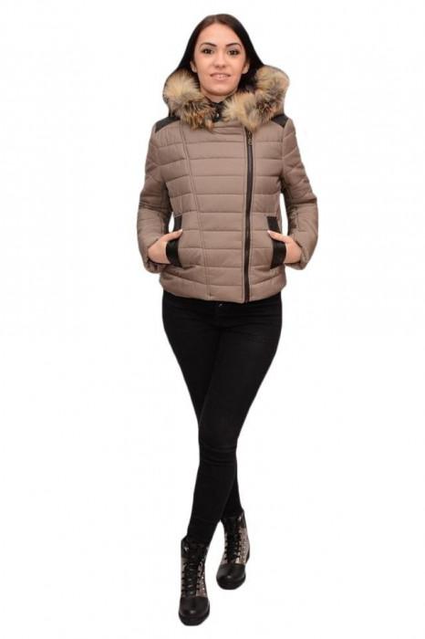 Jacheta tinereasca kaki, model scurt cu fermoarul intr-o parte