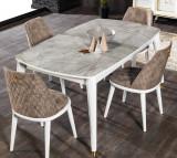 Cumpara ieftin Scaun tapitat cu stofa si picioare din lemn Toscana Maro / Alb, l46xA48xH87 cm